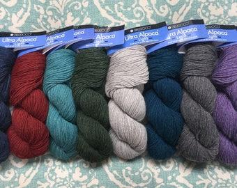 Ultra Alpaca LIGHT DK 6.99 + 1.25ea Ship Blueberry-Redwood-Turquoise-Peat-Moonshadow-Oceanic-Salt/Pepper-Lavender-Steel Cut Oats-Green Bean
