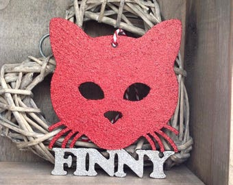 Personalised Cat Face Glitter Bauble by Duck Duck Goose