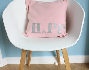 """""""HAPPY"""" pink cotton Cushion cover - size 40 x 40 - girl - contemporary decor room decoration"""