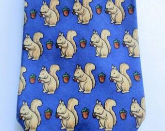 Vintage 90s Squirrel Acorn Necktie