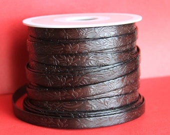 "MADE in EUROPE 24"" flat leather cord, embossed 10mm dark brown leather cord, genuine leather cord (509/10/02)"