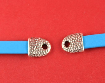 6/6 MADE IN EUROPE 2 cord ends, 12mm hole cord ends, leather cord end caps, leather cord clasp, flat leather cord end (X5853AS)Qty2