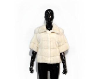 Real Fur Mink Jacket, Fur Bolero, Wedding Bolero,Fur Jacket,White Fur Jacket,Woman Fur Jacket,Genuine Fur Jacket,Prom Bolero F348