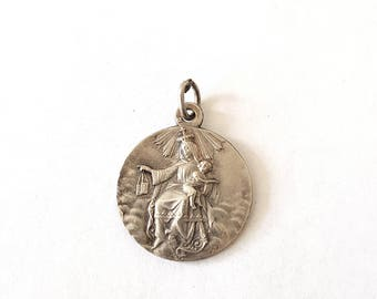 Antique Lasserre and Penin medal, sacred heart of Jesus and Lady of Mount Carmel, silver plated
