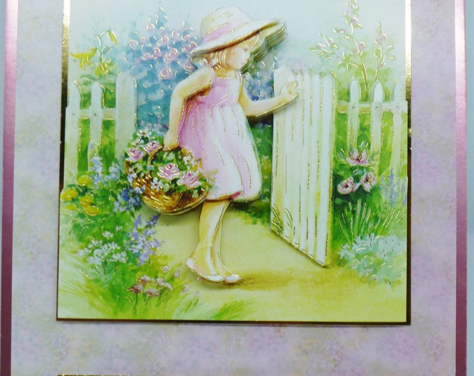 3 D Decoupage Card, Little Girl at the Gate, Birthday Card, Greeting Card, Any Age, Female, Mum, Sister, Daughter, Niece, Cousin, Aunt
