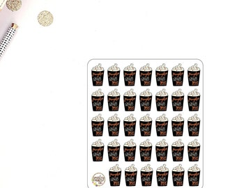 Fall Coffee Deco Planner Stickers