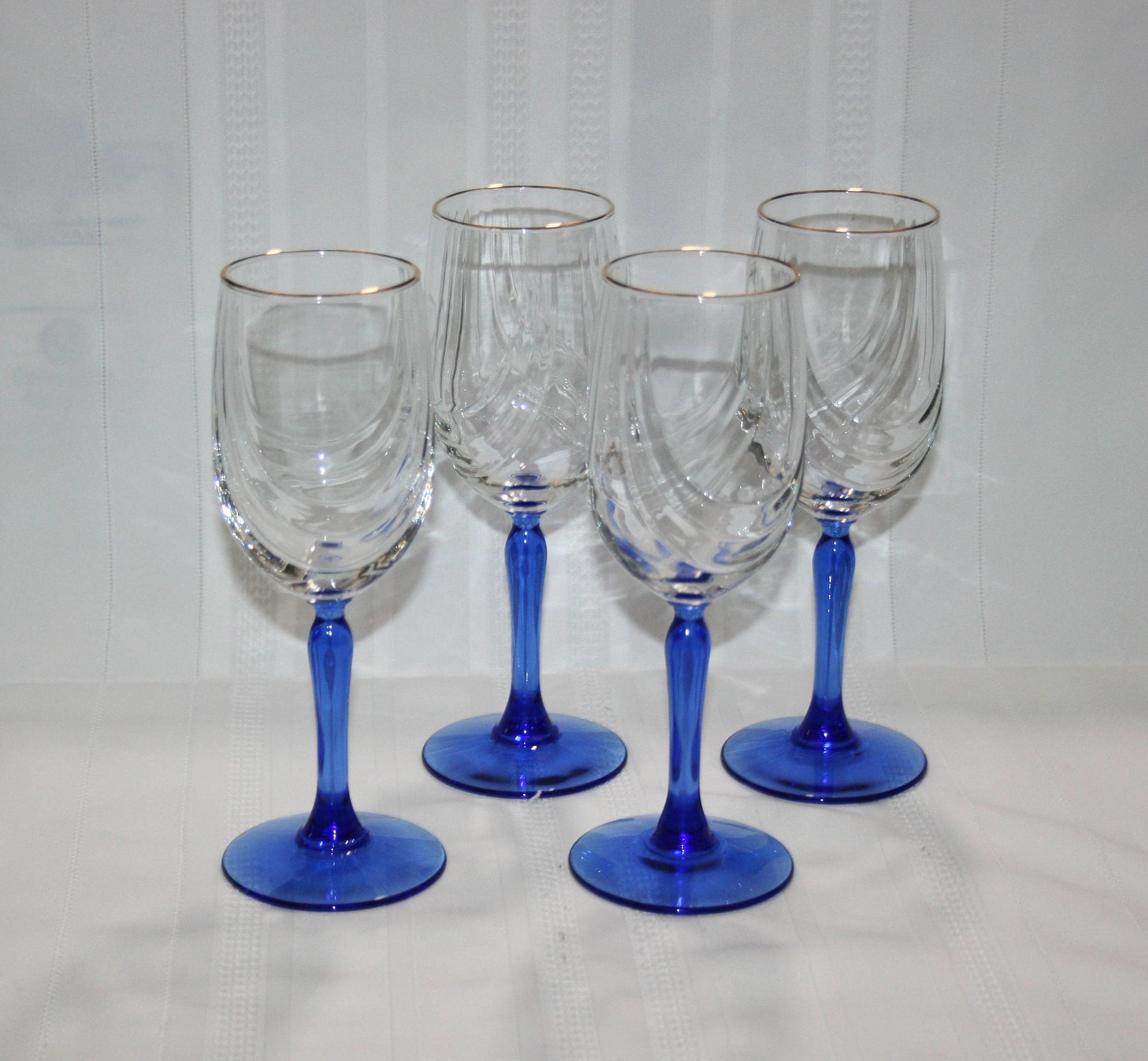 Vintage lenox crystal wine glass cobalt blue stemmed dual swag vintage lenox crystal wine glass cobalt blue stemmed dual swag draped gold rim glasses set of 4 bar barware stemware wedding party reviewsmspy