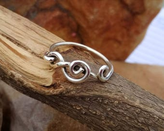 Music Symbol Sterling Silver Ring- Silver Ring - Sterling Silver Music band ring -  Music ring - Handmade ring