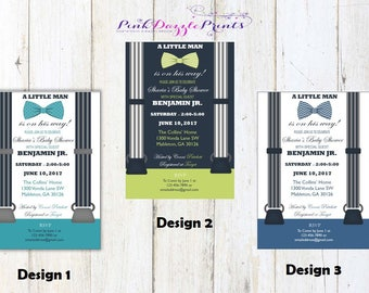 Printable Little Man Baby Shower Invitations