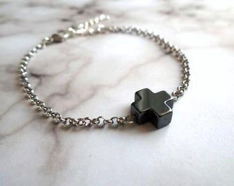 Cross bracelet, silver bracelet, charm bracelet, chain bracelet, cross, bracelet, gifts, jewelry