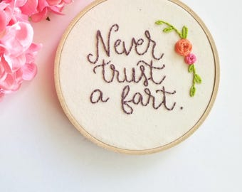 Never Trust a Fart. funny bathroom art. snarky embroidery hoop. funny cross stitch. best friend gift. fart humor.ready to ship.toilet sign.