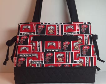 Bow Bag made with Ohio State Fabric