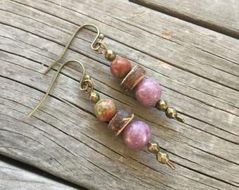 lepidolite earrings, Unakite earrings, antique bronze