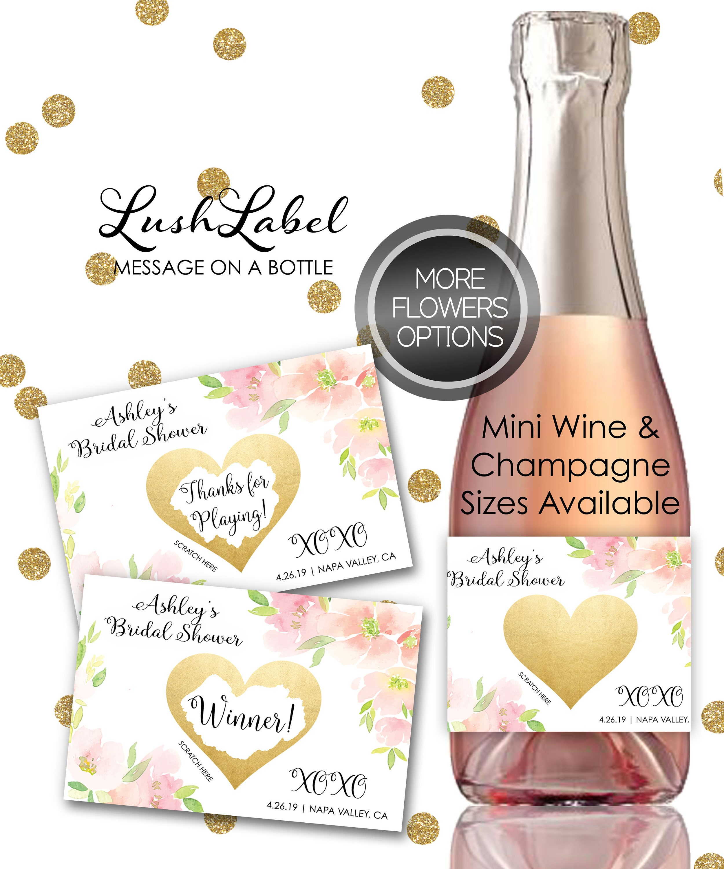 Bridal Shower Scratch Off Game Mini Wine Champagne Bottle Label ...