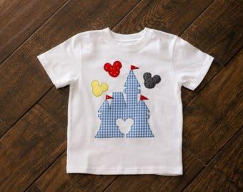 Appliquéd Disney Mickey Castle Shirt