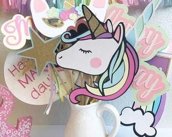 Unicorn Photo Booth Props | Unicorn Party Decor | Unicorn Photo Props | Birthday Party Photo Booth Props | Pastel Party Decor | Rainbow Part