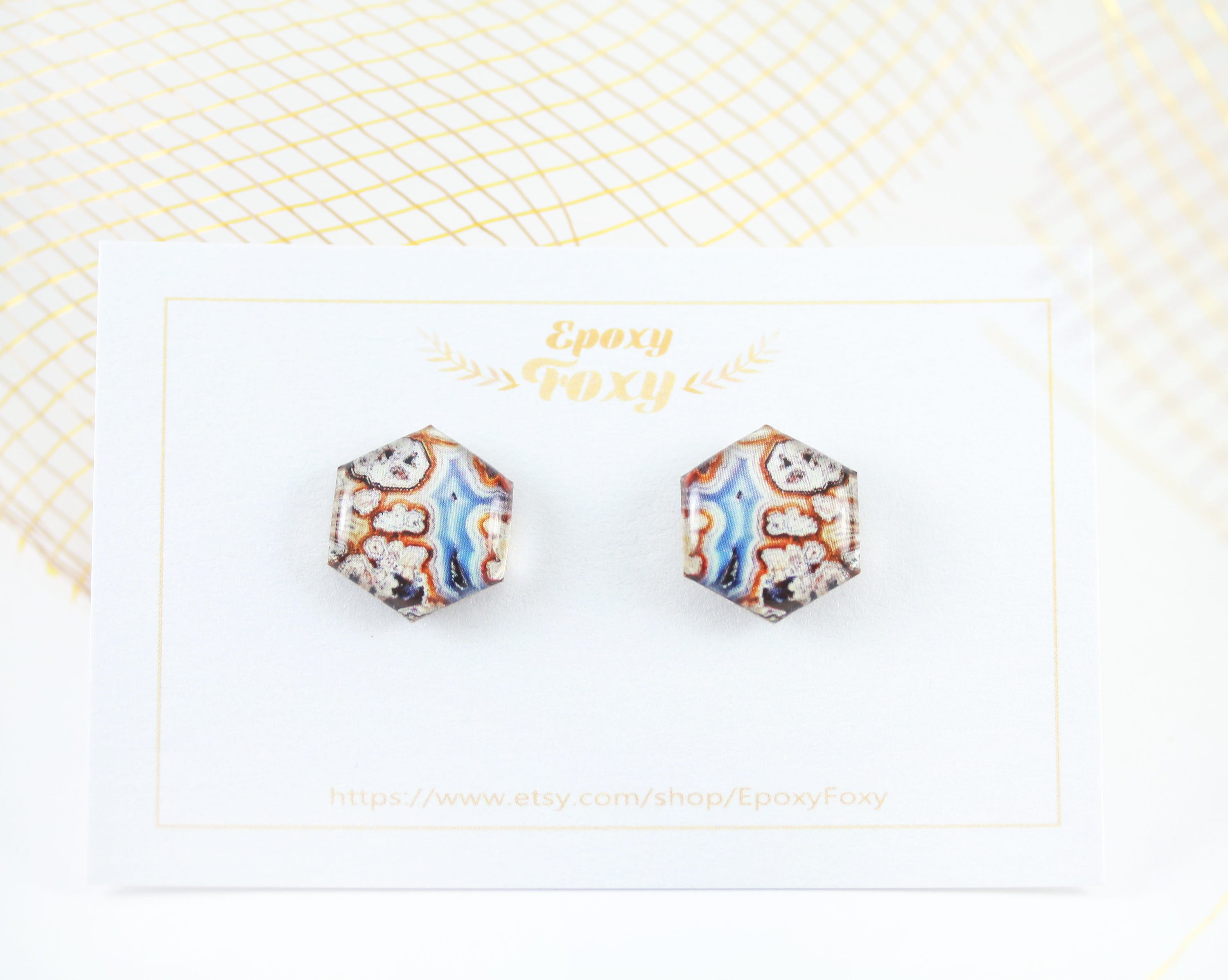 earrings trendy dux hexagon thread creature gold shop earring
