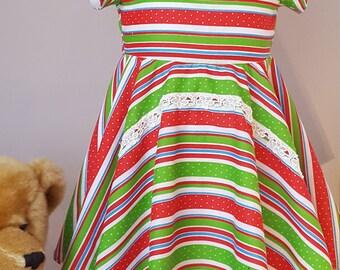 Flower Girl dress, Bridesmaid dress, Birthday dress, Special Occasion dress, Stripe dress, Stripe Swing dress, Full circle skirt. 6-9 months