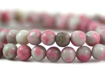 Rhodonite Quartz Matte Pink Gray Round A Grade Gemstone 6mm