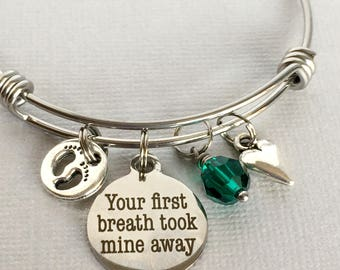 New Mom Bracelet, Your First Breath Took Mine Away, New Mother Gift, New Baby Gift, New Mom Jewelry, FAM002