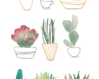 Succulents Print A4 watercolors painting