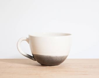 Gray Dipped White Ceramic Coffee Cup by Barombi Studios