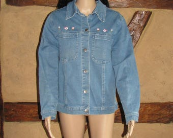 Women JACKET vintage trachten German folk Landhaus jeans jacket Hammerschmid decorative buttons