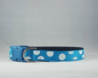 Blue with white polka dots dog collar