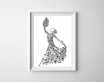 Arabic Calligraphy Fayrouz/فيروز  Art Print - زوروني كل سنة مرة -  - Arabic Art Flamenco Dancer - Arabic Poetry