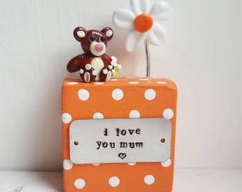 Mother's Day Gift - I love you Mum Teddy - Gifts for Mum - Mum Keepsake - Lampwork Ornament - Teddy Figurine - Lampwork Glass Keepsake