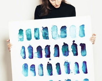 LARGE watercolor painting, abstract painting, abstract print, acrylic abstract, blue abstract painting, indigo abstract art