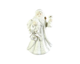 St Nicholas Square 9 In Porcelain Santa Music Box Father Christmas Wish A Merry