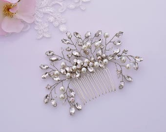 Bridal hair Comb, Rose Gold Hair piece, Gold, SIlver, Crystal Headpiece, Wedding Haircomb, Bridal Hair Jewelry, Pearl Hair Piece