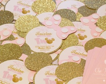 Minnie Mouse Invitation, Gold and Pink, Glitter Gold