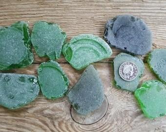 Big Green Sea Glass Pieces - Green Beach Glass Bottle Pieces -Sea Glass Supply.
