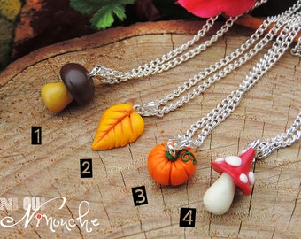 Fall pendant necklace (fimo) chain pumpkin leaf brown red yellow orange mushroom girl Halloween