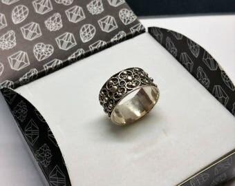 21.8 mm wide ring silver 835 vintage handmade nostalgia SR912