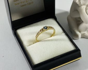 Ring gold 333 GR359 Sapphire vintage braiding design old