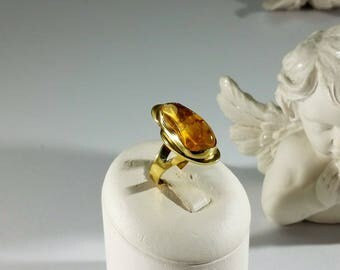 Ring Gold 750 with Citrine natural stone goldsmithing unique GR490
