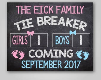 Tie breaker pregnancy announcement chalkboard sign, 3rd pregnancy reveal, baby announcement, photo props, gender reveal sign,Printable
