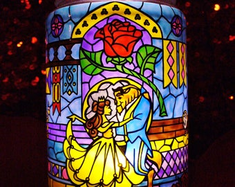 Beauty and the Beast Stained Glass Candle Jar Disney