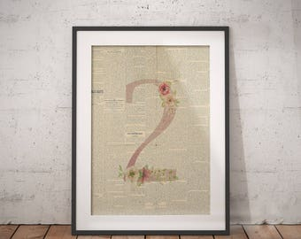 Nursery Number Two | Two Poster, Two Number Art, Number Wall Art, Nursery Age, Two Year Old, Two Years Old, Floral Number, Number Print