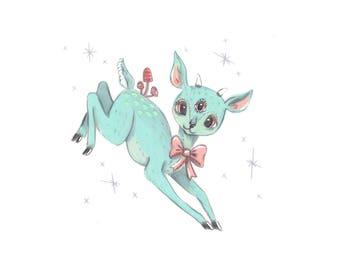 Classic Reindeer 5x7 Illustration Print