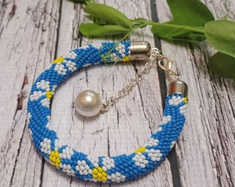 Camomile pattern bracelet spiral seed beads blue white beaded rope bracelet bead jewelry beadwork beadweaving beaded rope spiral seed beads