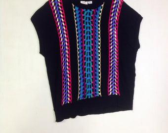 VIntage Bright neon ,Retro Black,Pink,Blue sweater vest