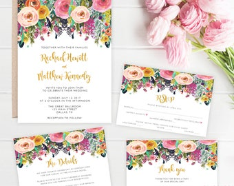 Wedding Invitation Printable, Wedding Invitation Set, Wedding Invites, Floral, Elegant Wedding Invitations, Download, Wedding Invite PDF