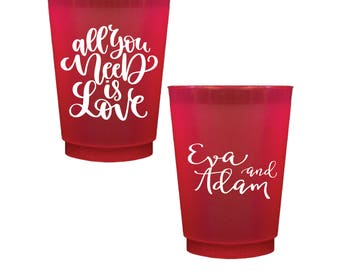 All You Need Is Love Personalized Wedding Shatterproof Wine Cups, Frosted Cup, Wedding Cups, Wine Cup, Bar Cups, Shower Cups