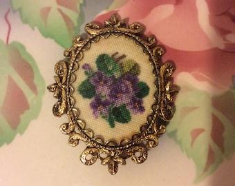 Vintage Embroidered Floral Brooch