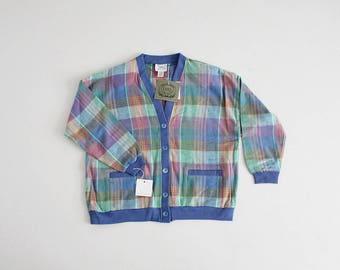 rainbow plaid sweater | oversized cardigan sweater | plaid sweater