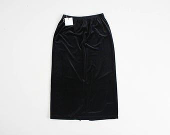 90s black velvet skirt | long velvet skirt | black velvet skit with elastic waist